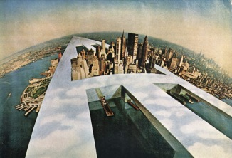 1960s Superstudio Continuous Monument crashing through downtown Manhattan