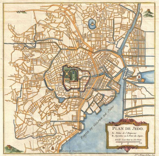 1752 Map of Edo (Tokyo), Japan