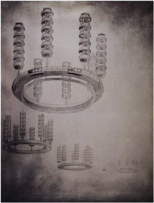 Georgy Krutikov, A city on Aerial Paths of Communication, Vhetein Diploma Project, 1928
